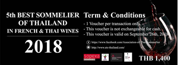 5th Best Sommelier of Thailand in French & Thai Wines 2018 Zipevent